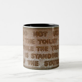 old train toilet sign Two-Tone coffee mug