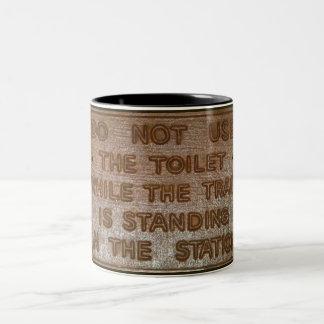 old train toilet sign Two-Tone mug