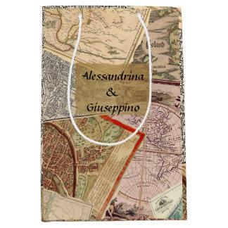 Old Travel Maps Vintage Collage, Custom Names Medium Gift Bag