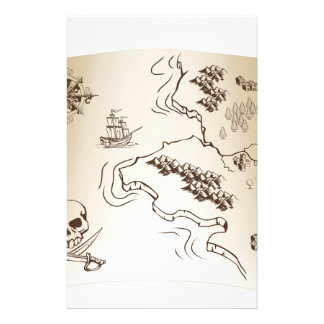Old Treasure map on scroll Stationery Design