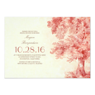 "old tree blush watercolor bridal shower 5"" x 7"" invitation card"