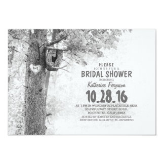 """old tree rustic country bridal shower invites 5"""" x 7"""" invitation card"""