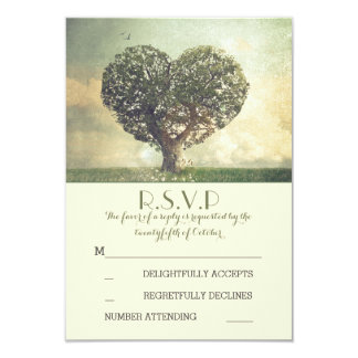 Old tree rustic country wedding RSVP cards 9 Cm X 13 Cm Invitation Card