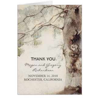 Old Tree Rustic Wedding Thank You Note Card