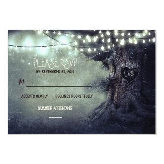 old tree string lights rustic wedding RSVP cards 9 Cm X 13 Cm Invitation Card