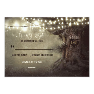 old tree string lights rustic wedding RSVP cards 9 Cm X 13 Cm Invitation Card