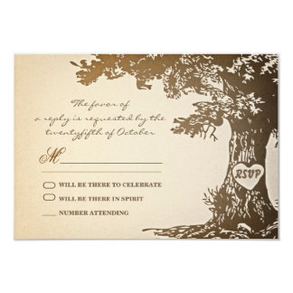 old tree vintage wedding rsvp design card