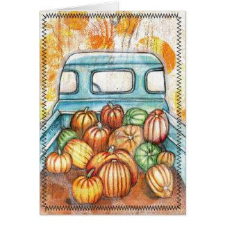 Old Truck Full of Pumpkins Notecard
