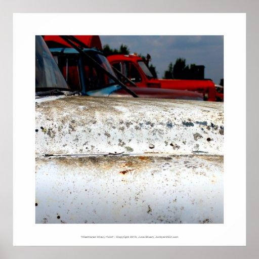 Old truck weathered hood cool junkyard art photo poster