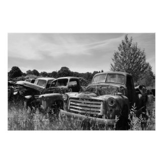 Old Trucks Junkyard Poster