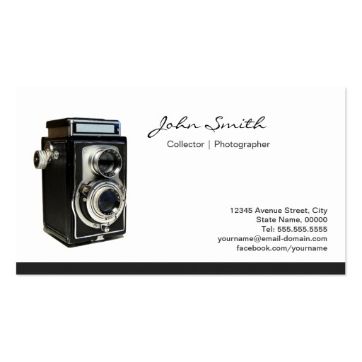 Old Twin-lens Reflex Camera Collector Shop Business Card Templates