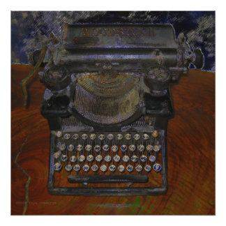 Old Typewriter Brown Table Print