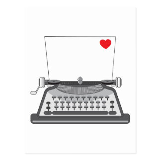 Old Typewriter Heart Postcard