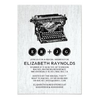 Old Typewriter Keys Bridal Shower Invitations