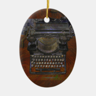Old Typewriter on Red Table Ornament