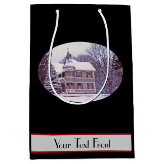 Old Victorian House at Christmas Medium Gift Bag