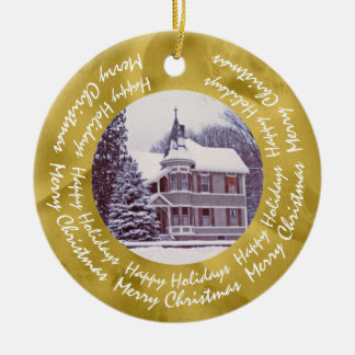 Old Victorian House - Home for the Holidays Ceramic Ornament
