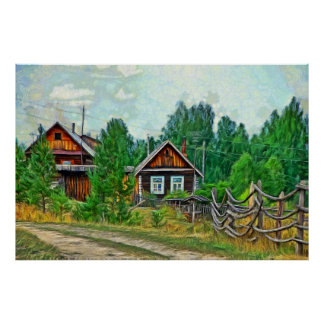 Old village in the mountains of the Southern Ural Poster