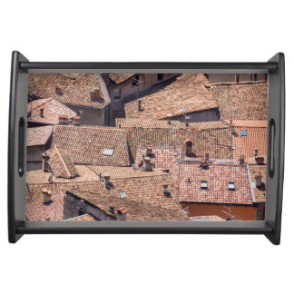 Old village roofs serving tray