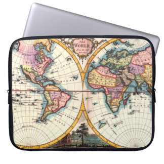 Old Vintage Antique world map illustration drawing Laptop Sleeve