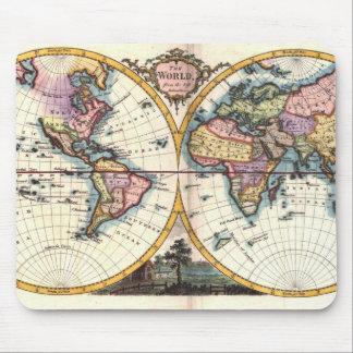 Old Vintage Antique world map illustration drawing Mouse Pad