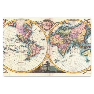 Old Vintage Antique world map illustration drawing Tissue Paper