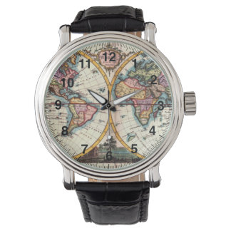 Old Vintage Antique world map illustration drawing Watch