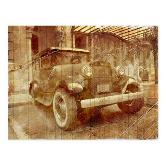Old vintage car postcard