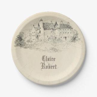 Old Vintage Fairytale Castle Wedding Paper Plate