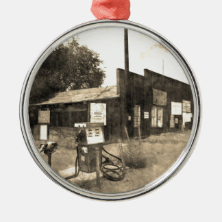Old Vintage Gas Station Silver-Colored Round Decoration
