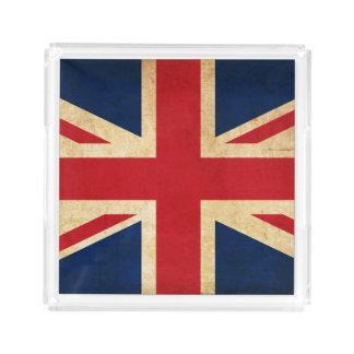 Old Vintage Grunge United Kingdom Flag Union Jack Acrylic Tray