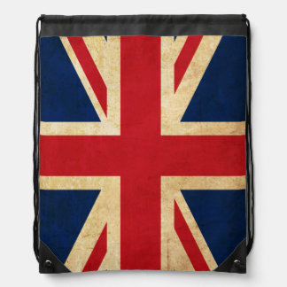 Old Vintage Grunge United Kingdom Flag Union Jack Drawstring Bag