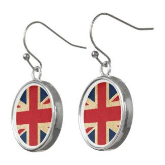Old Vintage Grunge United Kingdom Flag Union Jack Earrings