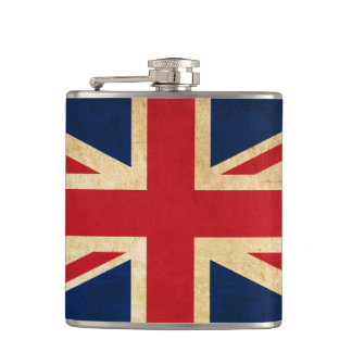 Old Vintage Grunge United Kingdom Flag Union Jack Hip Flask