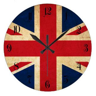 Old Vintage Grunge United Kingdom Flag Union Jack Large Clock