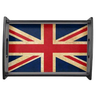 Old Vintage Grunge United Kingdom Flag Union Jack Serving Tray