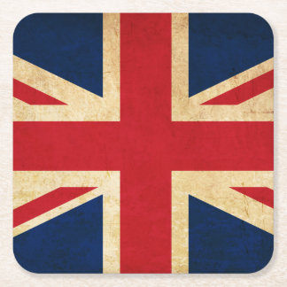 Old Vintage Grunge United Kingdom Flag Union Jack Square Paper Coaster