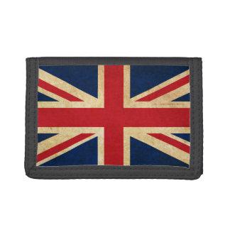 Old Vintage Grunge United Kingdom Flag Union Jack Trifold Wallet