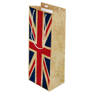 Old Vintage Grunge United Kingdom Flag Union Jack Wine Gift Bag