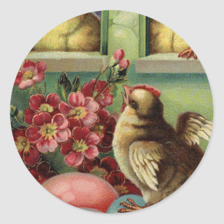 Old Vintage Happy Easter chicken neighbors & eggs Round Sticker