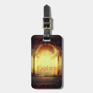 Old vintage look fort main entrance gate texture luggage tag
