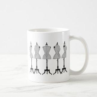 Old vintage mannequins, fashion illustration coffee mug