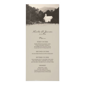 Old Vintage Mountain Church Wedding Menu 10 Cm X 24 Cm Invitation Card