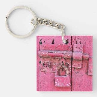 Old/vintage pink lock keychain