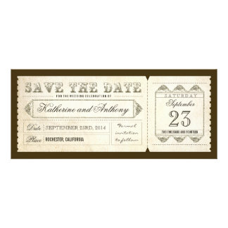 old vintage save the date ticket custom invites