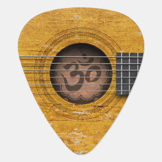 Old Vintage Spiritual Guitar with Om Symbol Plectrum