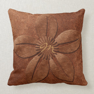 Old Vintage Style Copper Light Textured Flower Throw Pillow