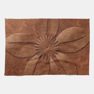 Old Vintage Style Copper Textured Flower Tea Towel