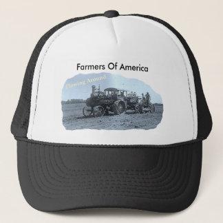 Old Vintage Tractor Plowing Trucker Hat