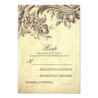 Old vintage wedding RSVP cards 9 Cm X 13 Cm Invitation Card